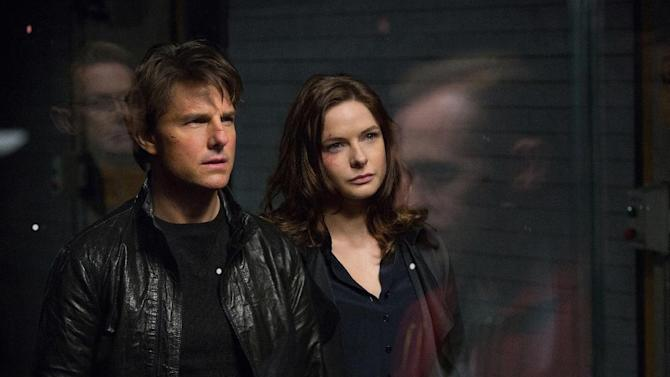 "In this image released by Paramount Pictures, Tom Cruise, left, and Rebecca Ferguson appears in a scene from ""Mission: Impossible - Rogue Nation.""  (David James/Paramount Pictures and Skydance Productions via AP)"