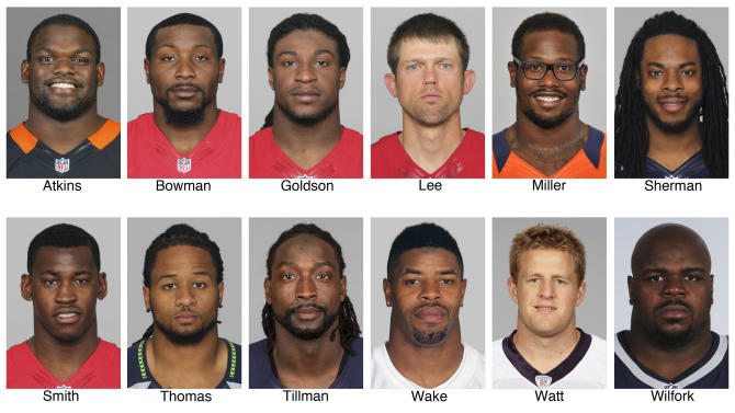 FILE - These 2012 file photos show members of The Associated Press 2012 NFL football All-Pro defensive team. Top row from left are Geno Atkins, Cincinnati Bengals; NaVorro Bowman, San Francisco 49ers; Dashon Goldson, San Francisco 49ers; Andy Lee, San Francisco 49ers: Von Miller, Denver Broncos, and Richard Sherman, Seattle Seahawks. Bottom row from left are Aldon Smith, San Francisco 49ers; Earl Thomas, Seattle Seahawks; Charles Tillman, Chicago Bears; Cameron Wake, Miami Dolphins; J.J. Watt, Houston Texans, and Vince Wilfork, New England Patriots. (AP Photo/File)