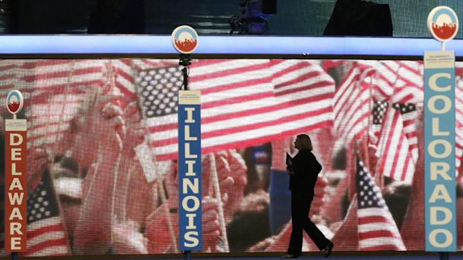 The stage is seen as preparations continue before the start of the Democratic National Convention at the Time Warner Cable Arena in Charlotte, N.C., Monday, Sept. 3, 2012. (AP Photo/Charles Dharapak)