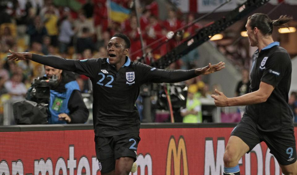 England's Danny Welbeck, left, celebrates after scoring a goal  during the Euro 2012 soccer championship Group D match between Sweden and England in Kiev, Ukraine, Friday, June 15, 2012. (AP Photo/Ivan Sekretarev)