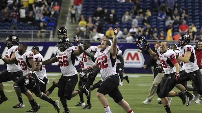 The Northern Illinois team rushes the field after their 44-37 win over Kent State in the second overtime of the Mid-American Conference championship NCAA college football game on Friday, Nov. 30, 2012. (AP Photo/Carlos Osorio)