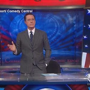 "Stephen Colbert signs off as host of ""The Colbert Report"""