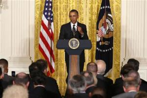 U.S. President Obama delivers remarks at a reception with U.S. mayors at the White House