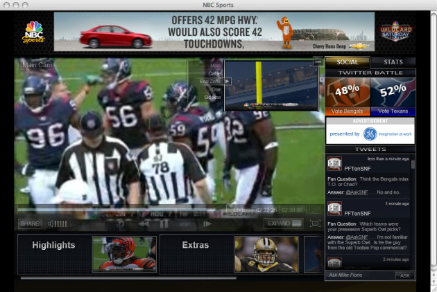 <p>               This screen shot from a computer monitor shows pro-football game action without watching television. For the first time, U.S. football fans will be able to watch the Super Bowl live on a computer or on a phone. (AP Photo/NBC)