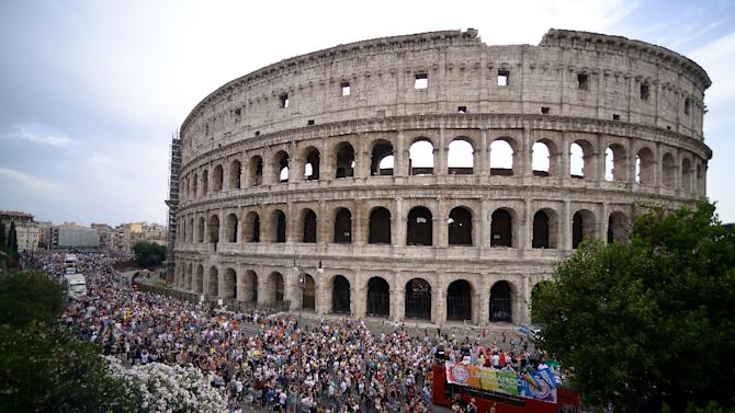 Rome's Colosseum, pictured in June during a Gay Pride Parade