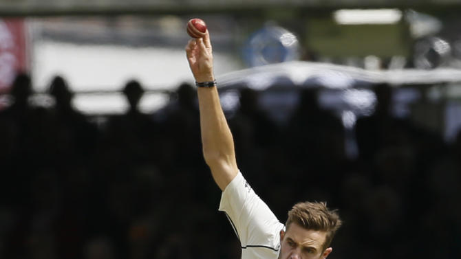 New Zealand's Tim Southee bowls to England's Moeen Ali during play on the second day of the first Test match at Lord's cricket ground in London, Friday, May 22, 2015. (AP Photo/Kirsty Wigglesworth)