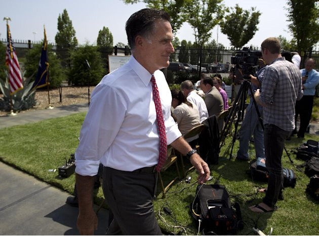 Republican presidential candidate, former Massachusetts Gov. Mitt Romney leaves after a news conference at Spartanburg International Airport, Thursday, Aug. 16, 2012, in Greer, S.C .  (AP Photo/Evan V