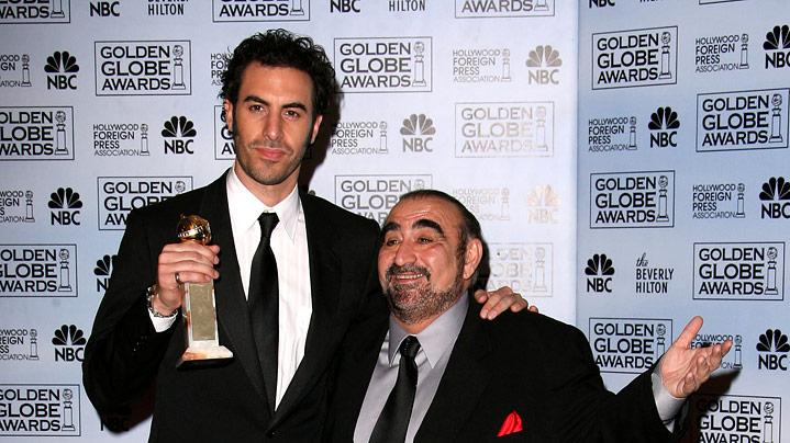 "Sacha Baron Cohen, winner Best Performance by an Actor in a Motion Picture - Musical Or Comedy for ""Borat,"" with Ken Davitian at the 64th annual Golden Globe Awards."