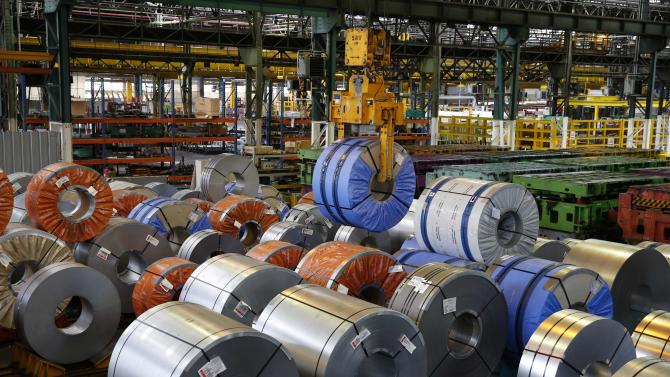 Coils of steel are seen at the Renault automobile factory in Flins