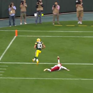 Green Bay Packers quarterback Scott Tolzien throws 33-yard touchdown pass to wide recevier Jeff Janis