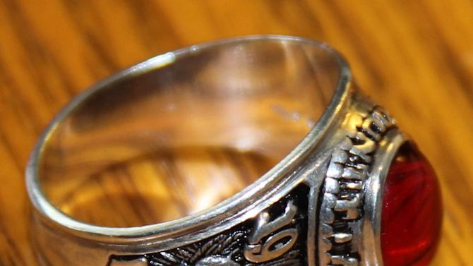 This undated photo provided by Donna McGuire of Montgomery County public schools shows the 1970 Montgomery High School ring purchased by a Pennsylvania contractor working in Vietnam last year. Montgomery County schools officials have been searching for its owner ever since. (AP Photo/Courtesy Montgomery County public schools)