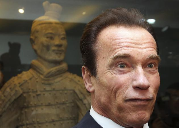 Actor and former California Governor Arnold Schwarzenegger visits the Museum of Qin Terracotta Warriors and Horses in Xi'an