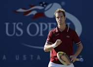 Richard Gasquet of France celebrates a point against David Ferrer of Spain at the U.S. Open tennis championships in New York September 4, 2013. REUTERS/Eduardo Munoz