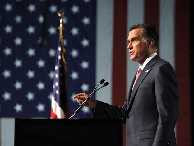 FILE - In this July 24, 2012 file photo, Republican presidential candidate, former Massachusetts Gov. Mitt Romney speaks in Reno, Nev. Romney, a one-term governor untested on the international stage _ faces high stakes in his visits to England, Israel and Poland. He's seeking to persuade voters back home to elect him their leader in a complex, dangerous world, and this week's trip will invite comparisons to Barack Obama's successful overseas 2008 tour before he won the White House. (AP Photo/Rich Pedroncelli, File)