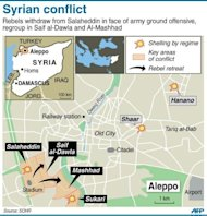 A map of Aleppo showing latest fighting in the city. Syrian forces shelled rebels in the battle-scarred city of Aleppo Sunday and gunfire was heard in Damascus, as US Secretary of State Hillary Clinton called for the regime&#39;s downfall to be speeded up
