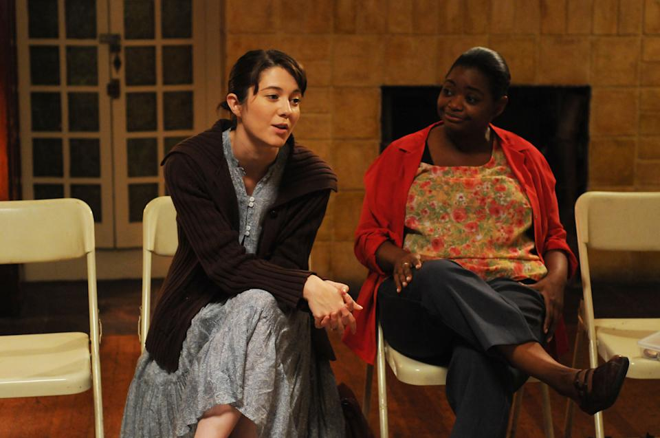 "This film image released by Sony Pictures Classics shows Mary Elizabeth Winstead as Kate Hannah, left, and Octavia Spencer as Jenny in a scene from ""Smashed."" (AP Photo/Sony Pictures Classics, Oana Marian)"