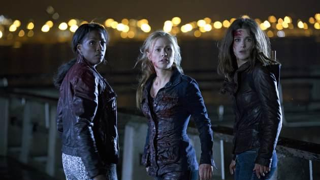 Rutina Wesley as Tara Thornton, Anna Paquin as Sookie Stackhouse and Lucy Griffiths as Nora Gainsborough in 'True Blood' Season 6 -- HBO/John P. Johnson