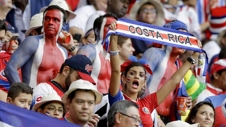 Costa Rica fans wait for the start of the World Cup quarterfinal soccer match between the Netherlands and Costa Rica at the Arena Fonte Nova in Salvador, Brazil, Saturday, July 5, 2014