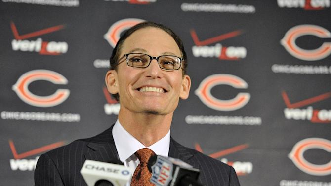 Chicago Bears NFL football team new head coach Marc Trestman talks to the media during his first press conference at Halas Hall, Thursday, Jan. 17, 2013, in Lake Forest, Ill. (AP Photo/Jim Prisching)