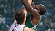 Stephane Lasme (R) of Panathinaikos Athens goes for the basket against Tibor Pleiss (L) of Laboral Kutxa during the Basketball Euroleague TOP 16 match held between Panathinaikos