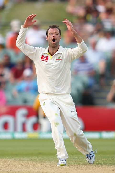 ADELAIDE, AUSTRALIA - NOVEMBER 23:  Rob Quiney of Australia reacts to a shot played off one of his deliveries during day two of the Second Test match between Australia and South Africa at Adelaide Ova