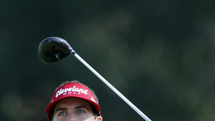 Keegan Bradley drives on the second tee in the final round of the Northern Trust Open golf tournament at Riviera Country Club in Los Angeles, Sunday, Feb. 19, 2012. (AP Photo/Chris Carlson)