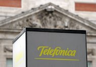 The Spanish Telefonica logo is pictured at the Puerta del sol in Madrid in 2010. Spanish giant Telefonica said it has sold a 4.56 percent stake in one of China's top telecoms companies, China Unicom, for 1.13 billion euros