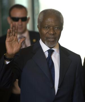 Kofi Annan, Joint Special Envoy of the United Nations and the Arab League for Syria arrives for a meeting of the Action Group for Syria at the European headquarters of the United Nations,  in Geneva, Switzerland, Saturday, June 30, 2012. (AP Photo/Keystone, Martial Trezzini)