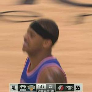 Carmelo Grimaces After Shot