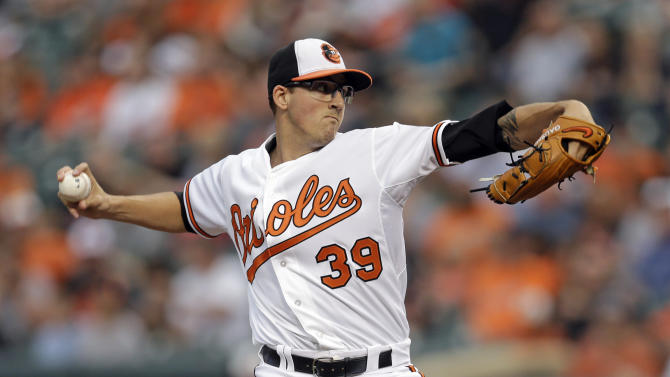 Baltimore Orioles starting pitcher Kevin Gausman throws to the Texas Rangers during the first inning of a baseball game, Thursday, July 2, 2015, in Baltimore. (AP Photo/Patrick Semansky)