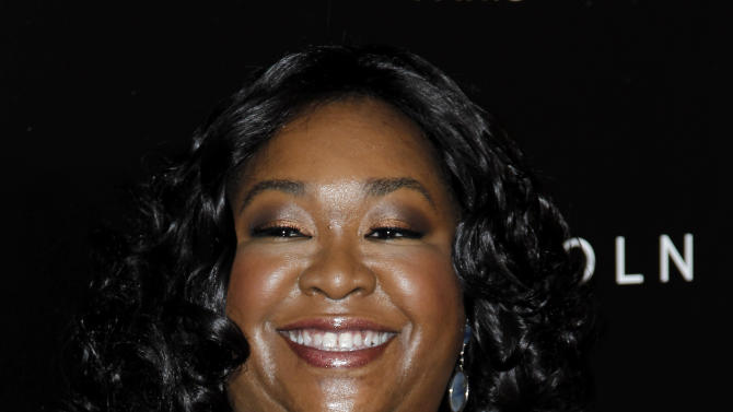 "FILE - In this Thursday, Feb. 23, 2012 file photo, Shonda Rhimes arrives at the 5th annual Essence Black Women in Hollywood Luncheon in Beverly Hills, Calif. ""Grey's Anatomy"" creator, Shonda Rhimes, is being honored with the Golden Gate Award on June 2, 2012, during the 23rd annual GLAAD Media Awards in San Francisco. (AP Photo/Matt Sayles, File)"