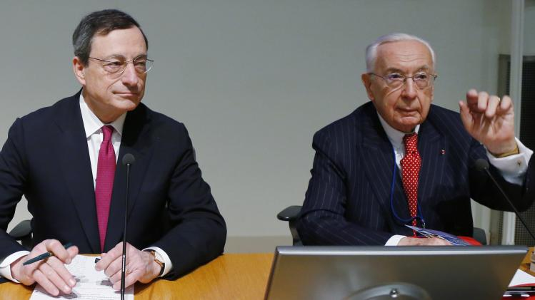 Former Bank of France and IMF director De Larosiere and ECB President Draghi attend a conference in Brussels