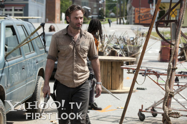 "Rick Grimes (Andrew Lincoln) and Michonne (Danai Gurira) in ""The Walking Dead"" Season 3 episode, ""Clear."""