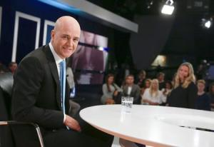 Sweden's Prime Minister Fredrik Reinfeldt of the Moderate Party poses in the studio during a break at his hearing in the Swedish broadcasting company SVT in Stockholm