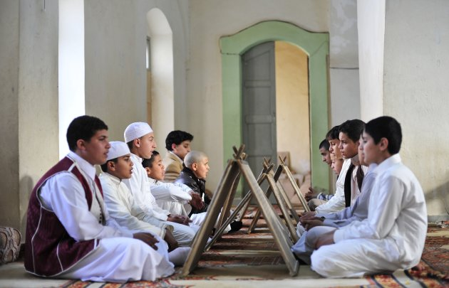 Libyan boys memorize the Koran at a school in Benghazi