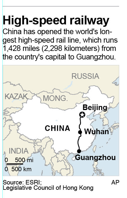 Map shows China's high-speed rail line from Beijing to Guangzhou;