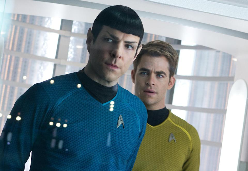 "This undated publicity film image released by Paramount Pictures shows, Zachary Quinto, left, as Spock and Chris Pine as Kirk in a scene in the movie, ""Star Trek Into Darkness,"" from Paramount Pictures and Skydance Productions. (AP Photo/Paramount Pictures, Zade Rosenthal)"