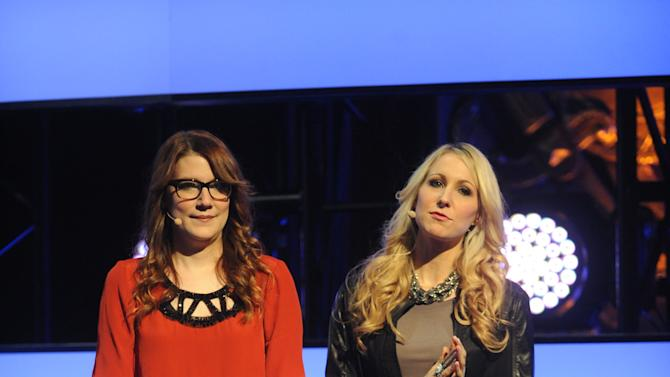 """From left, Sara Schaefer and Nikki Glaser of """"Nikki and Sara LIVE"""" on stage at the 2013 MTV Upfront, on Thursday, April 25, 2013 at the Beacon Theater in New York. (Photo by Brad Barket/Invision/AP Images)"""