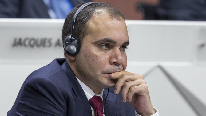 FIFA vice president Prince Ali bin al-Hussein of Jordan attends the 65th FIFA Congress held at the Hallenstadion in Zurich, Switzerland, Friday, May 29, 2015. (Patrick B. Kraemer/Keystone via AP)