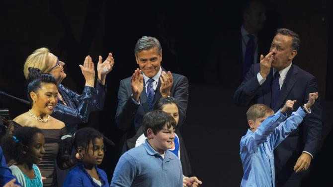 "Actors George Clooney, Tom Hanks and Meryl Streep perform onstage with campers during a performance at ""An Evening of SeriousFun Celebrating the Legacy of Paul Newman"" event in New York"