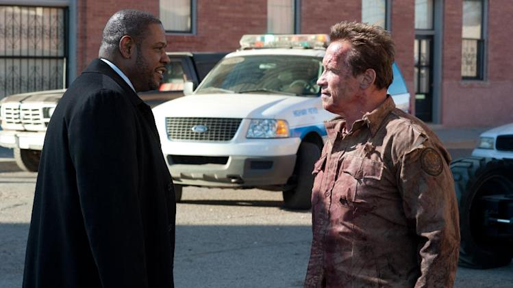 "This film image released by Lionsgate shows Forest Whitaker, left, and Arnold Schwarzenegger in a scene from, ""The Last Stand."" (AP Photo/Lionsgate, Merrick Morton)"
