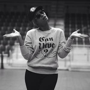 Beyonce dons a 'Can I Live?' Sweatshirt while rehearsing for the Super Bowl in New Orleans on January 27, 2013 -- Instagram