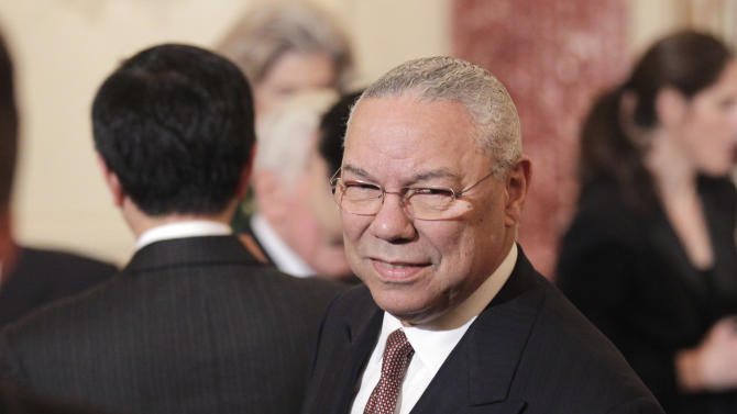 Former Secretary of State Colin Powell arrives for the luncheon for China's President Hu Jintao, Wednesday, Jan. 19, 2011, at the State Department in Washington. (AP Photo/Pablo Martinez Monsivais)