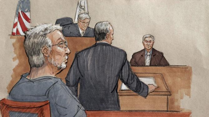 In this courtroom sketch, Drew Peterson, left, listens as his attorney Steve Greenberg questions retired judge Daniel Locallo, right, on the second day of a hearing at the Will County Courthouse in Joliet, Ill., Wednesday, Feb. 20, 2013, to decide if Peterson, convicted in September of killing his third wife, should be granted a new trial. Listening is Will County Judge Edward Burmila. Peterson's lawyers are asking for a retrial on grounds that his lead attorney at the 2012 trial failed to adequately defend him.  (AP Photo/Tom Gianni)