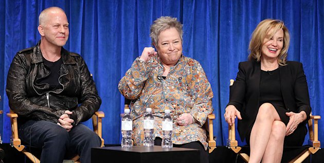 "Creator/Executive producer Ryan Murphy, and actresses Kathy Bates and Jessica Lange speak during The Paley Center For Media's PaleyFest 2013 Honoring ""American Horror Story: Asylum"" at the Saban Theatre on March 15, 2013 in Beverly Hills, California."