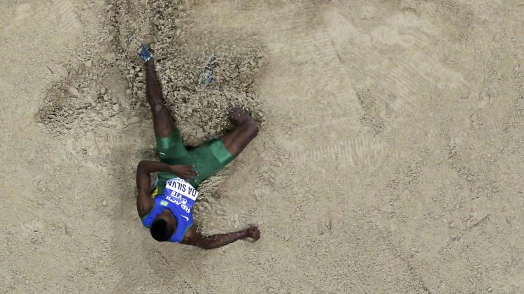 Brazil's Da Silva competes in men's long jump final at world indoor athletics championships in Sopot