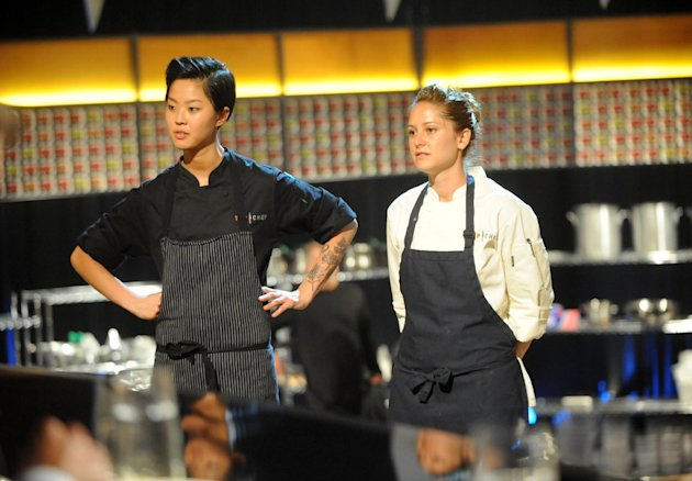 This image released by Bravo shows chef contestants Kristen Kish, left, and Brooke Williamson in a scene from &quot;Top Chef: Seattle.&quot; Kish and Williamson are finalists in the cooking competition series airing Wednesdays at 10 p.m. EST on Bravo. (AP Photo/Bravo, David Moir)