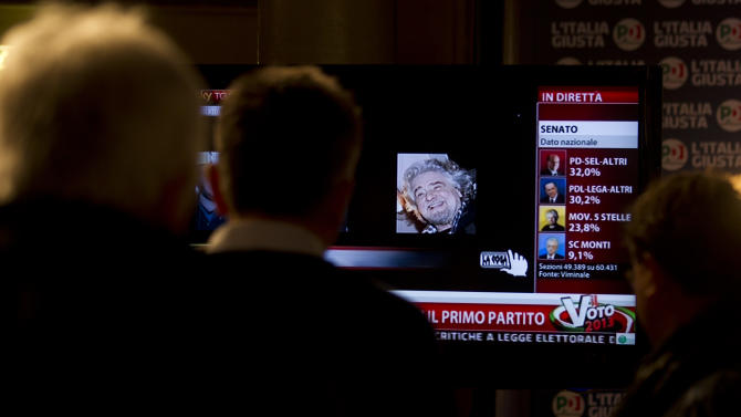 A TV broadcasts an image of leader of the 5 Star Movement Beppe Grillo, at the Democratic Party press center in Rome, Monday, Feb. 25, 2013. The prospect of political paralysis hung over Italy on Monday as partial official results in crucial elections showed an upstart protest campaign led by a comedian making stunning inroads, and mainstream forces of center-left and center-right wrestling for control of Parliament's two houses. (AP Photo/Alessandra Tarantino)