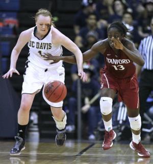 No. 1 Stanford women roll past UC Davis, 87-38