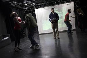 "Participants rehearse ""The Weiner Monologues"" at Hunter College in New York"